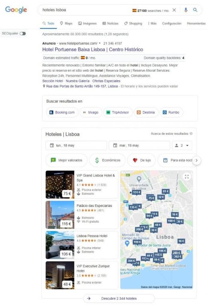 snippet alojamiento google