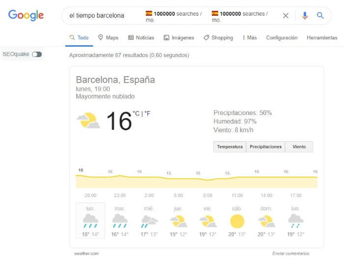 snippet meteorológico google