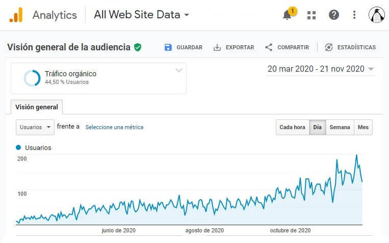 google analytics grafico trafico organico positivo